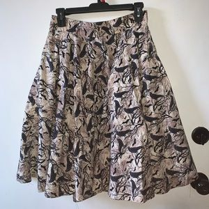 Full circle skirt with bats and birds